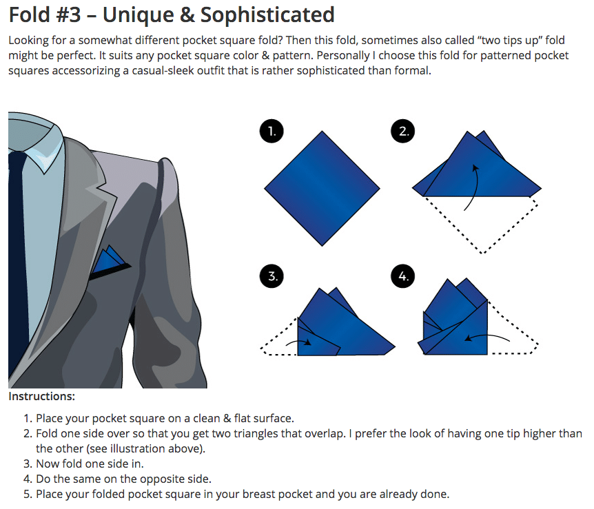 3 Fold Pocket Square Drink Well